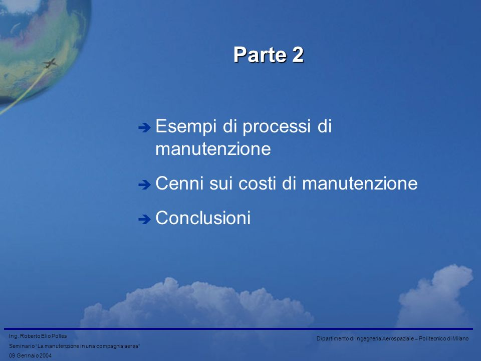 Parte 2 Esempi di processi di manutenzione