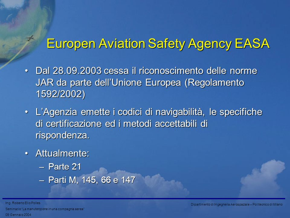 Europen Aviation Safety Agency EASA