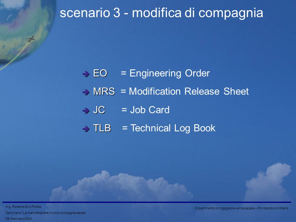 scenario 3 - modifica di compagnia