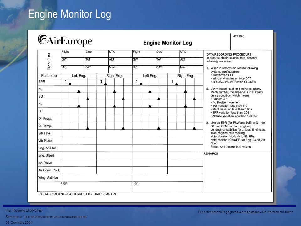 Engine Monitor Log