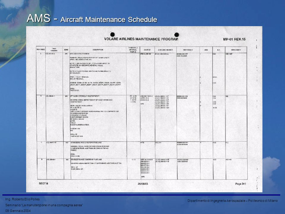 AMS - Aircraft Maintenance Schedule