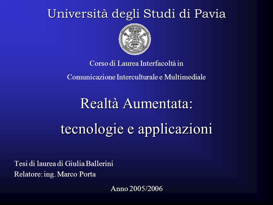 Realtà Aumentata: tecnologie e applicazioni