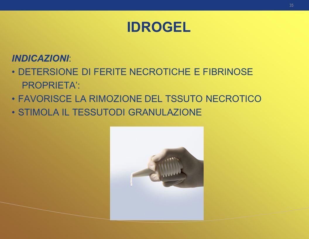 IDROGEL INDICAZIONI: DETERSIONE DI FERITE NECROTICHE E FIBRINOSE