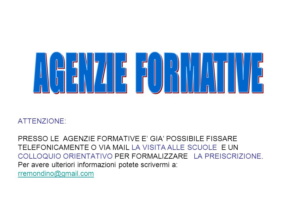 AGENZIE FORMATIVE