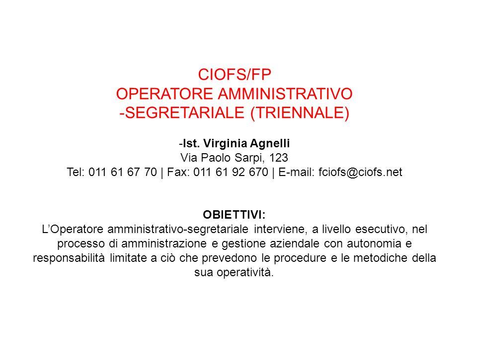 OPERATORE AMMINISTRATIVO SEGRETARIALE (TRIENNALE)