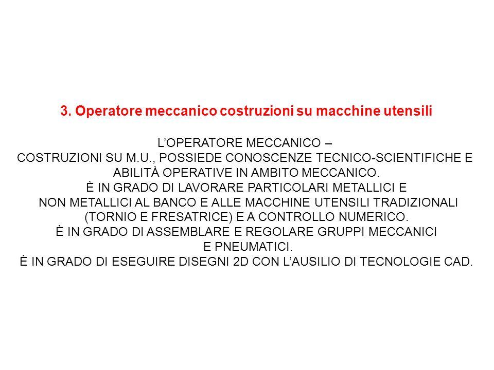 3. Operatore meccanico costruzioni su macchine utensili