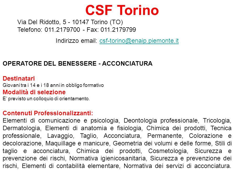 Indirizzo email: csf-torino@enaip.piemonte.it