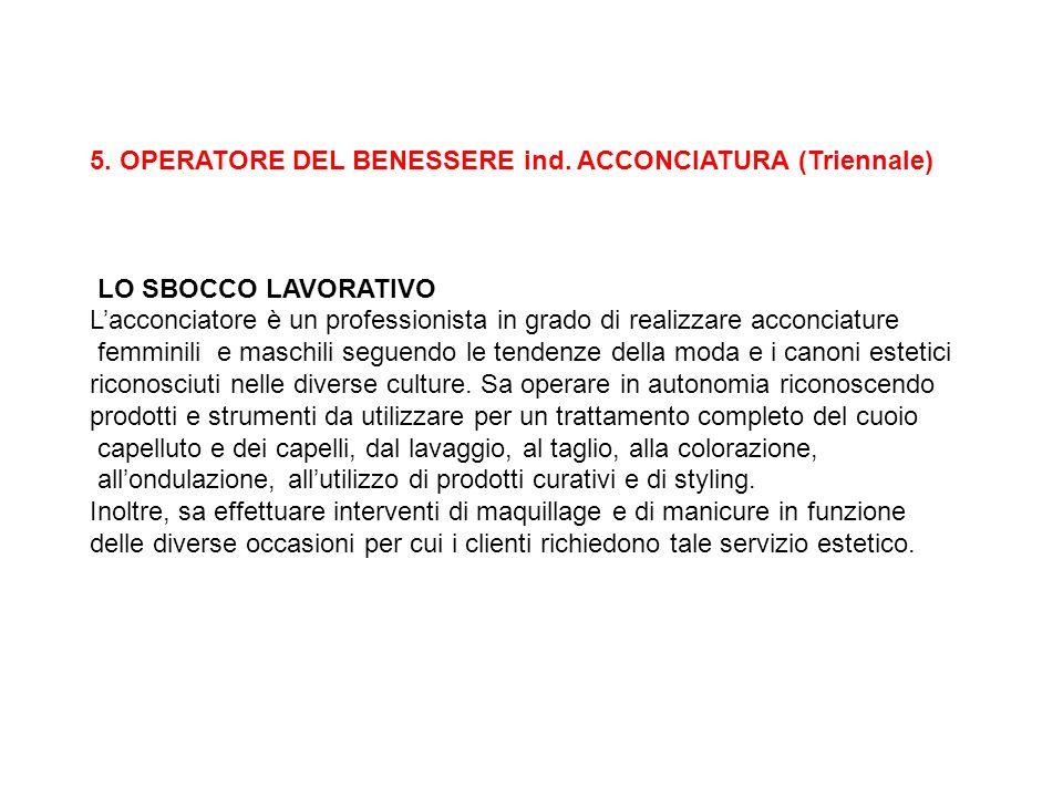 5. OPERATORE DEL BENESSERE ind. ACCONCIATURA (Triennale)