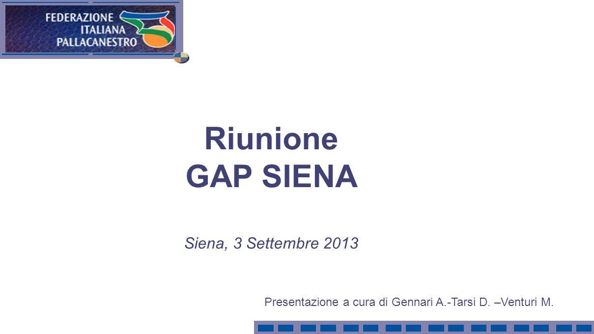 Riunione GAP SIENA Siena, 3 Settembre 2013