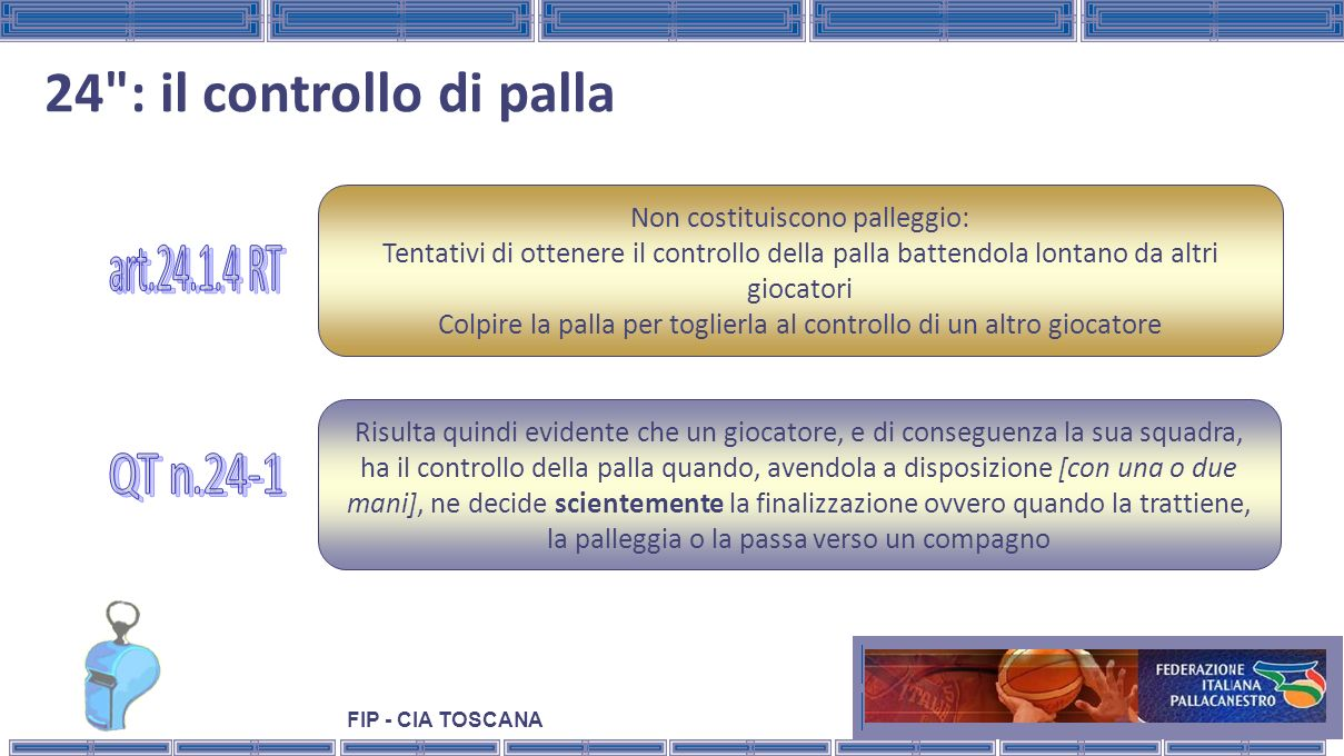 24 : il controllo di palla art.24.1.4 RT QT n.24-1