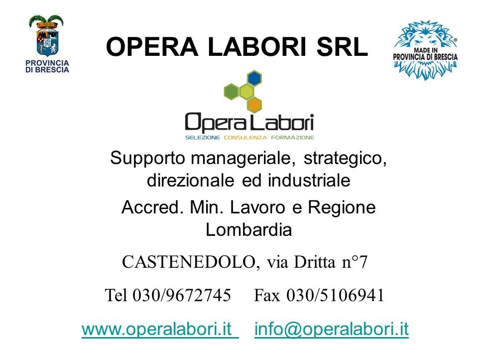 OPERA LABORI SRL Supporto manageriale, strategico, direzionale ed industriale. Accred. Min. Lavoro e Regione Lombardia.