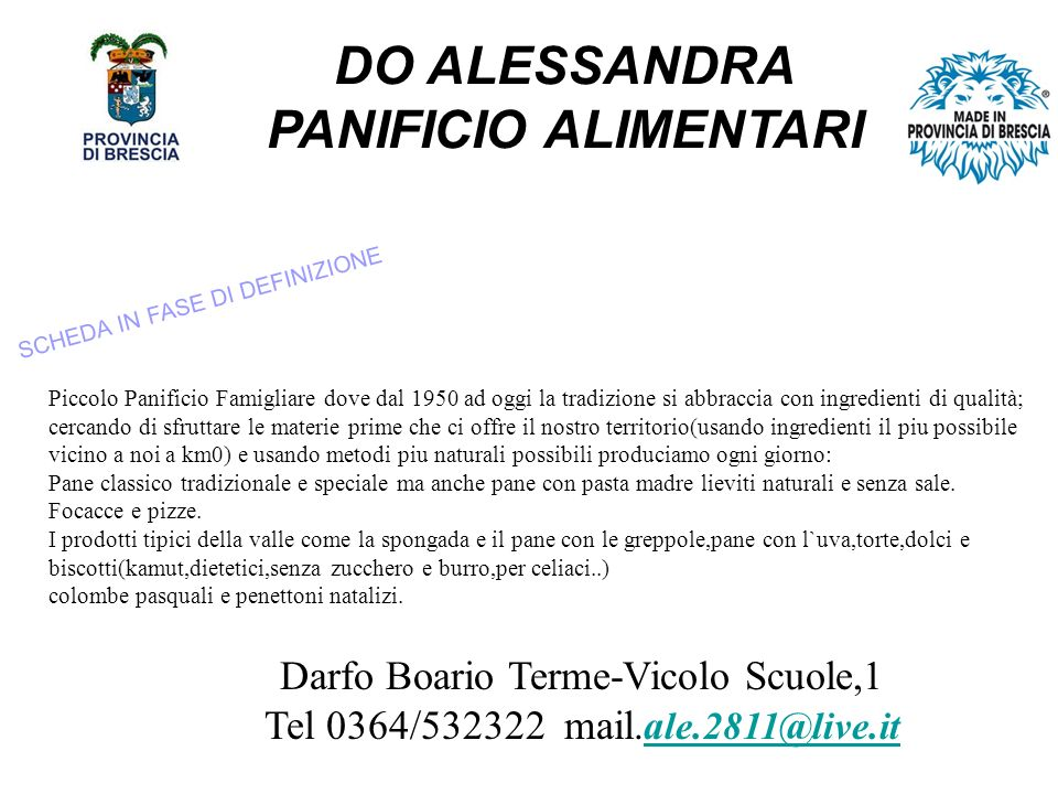 DO ALESSANDRA PANIFICIO ALIMENTARI