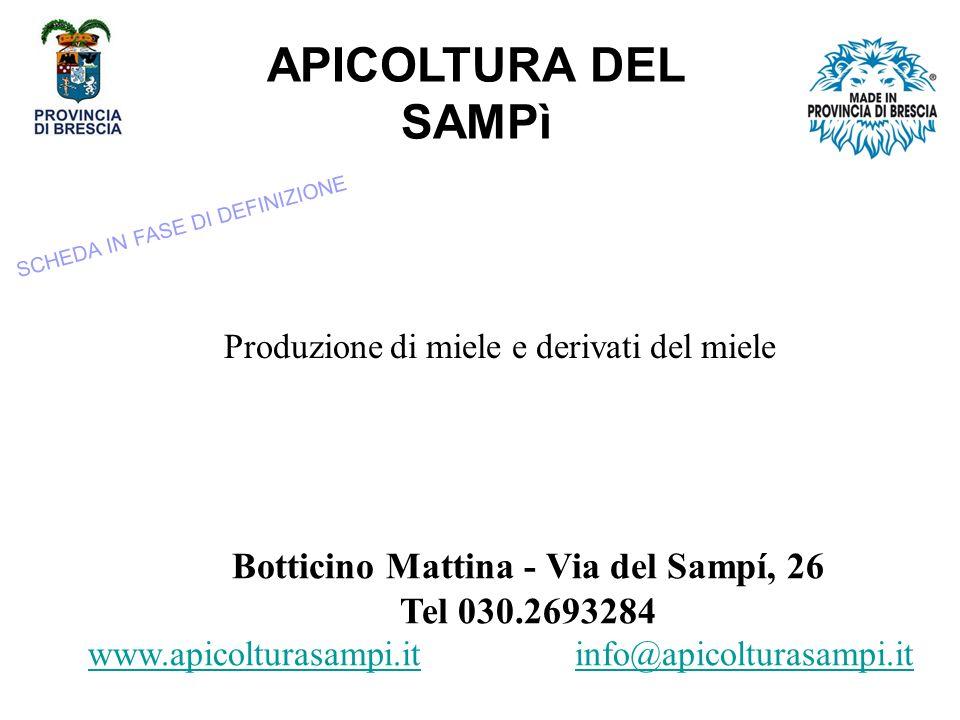 APICOLTURA DEL SAMPì SCHEDA IN FASE DI DEFINIZIONE. Produzione di miele e derivati del miele. Botticino Mattina - Via del Sampí, 26 Tel 030.2693284.
