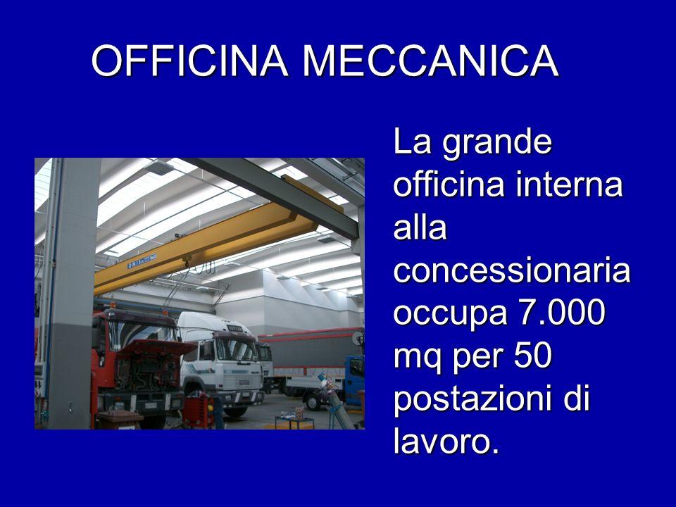 OFFICINA MECCANICA La grande officina interna alla concessionaria occupa 7.000 mq per 50 postazioni di lavoro.