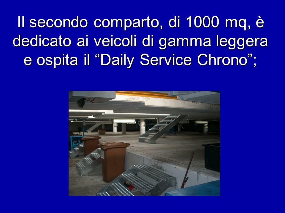 Il secondo comparto, di 1000 mq, è dedicato ai veicoli di gamma leggera e ospita il Daily Service Chrono ;