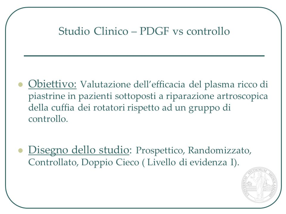 Studio Clinico – PDGF vs controllo