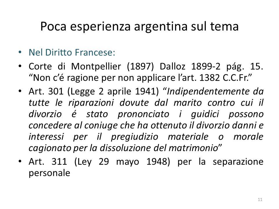 Poca esperienza argentina sul tema