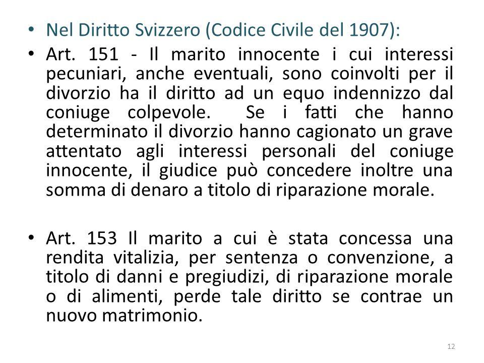 Nel Diritto Svizzero (Codice Civile del 1907):