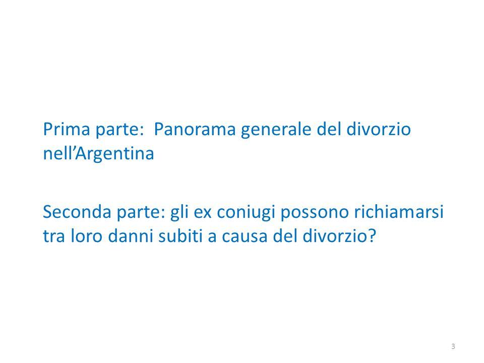 Prima parte: Panorama generale del divorzio nell'Argentina