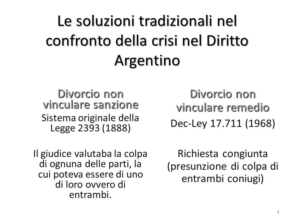 Le soluzioni tradizionali nel confronto della crisi nel Diritto Argentino