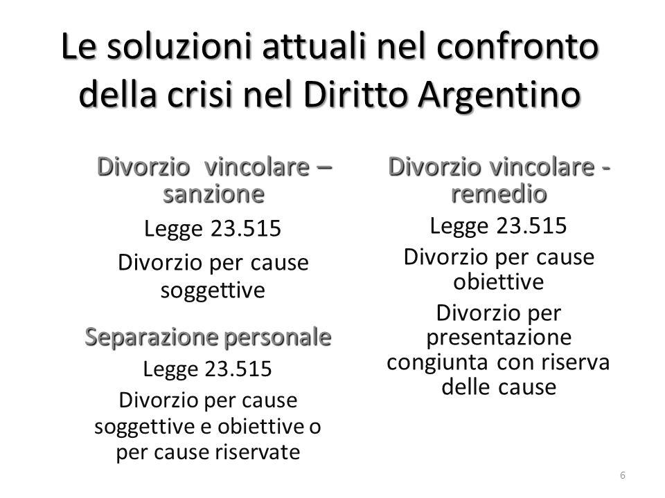 Le soluzioni attuali nel confronto della crisi nel Diritto Argentino