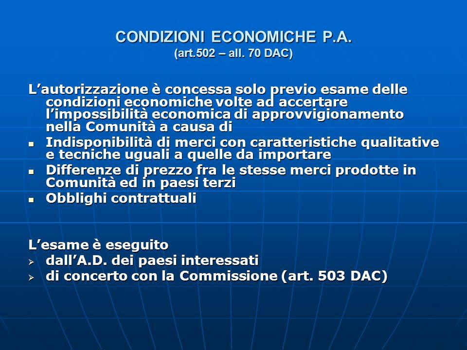 CONDIZIONI ECONOMICHE P.A. (art.502 – all. 70 DAC)