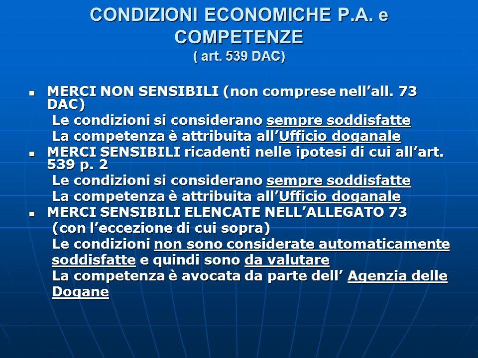 CONDIZIONI ECONOMICHE P.A. e COMPETENZE ( art. 539 DAC)