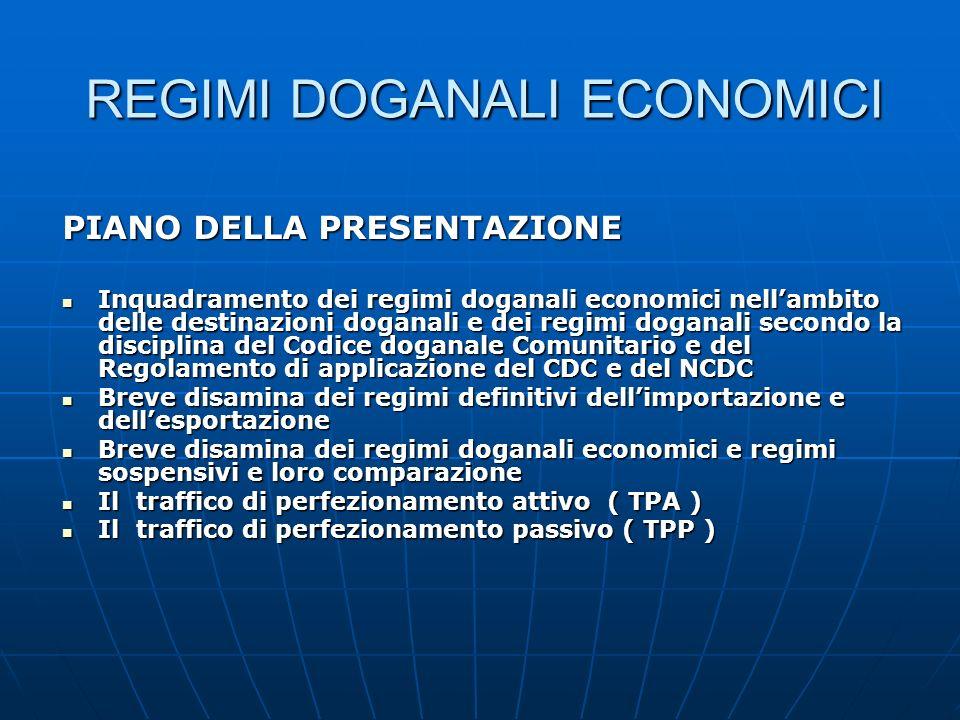 REGIMI DOGANALI ECONOMICI