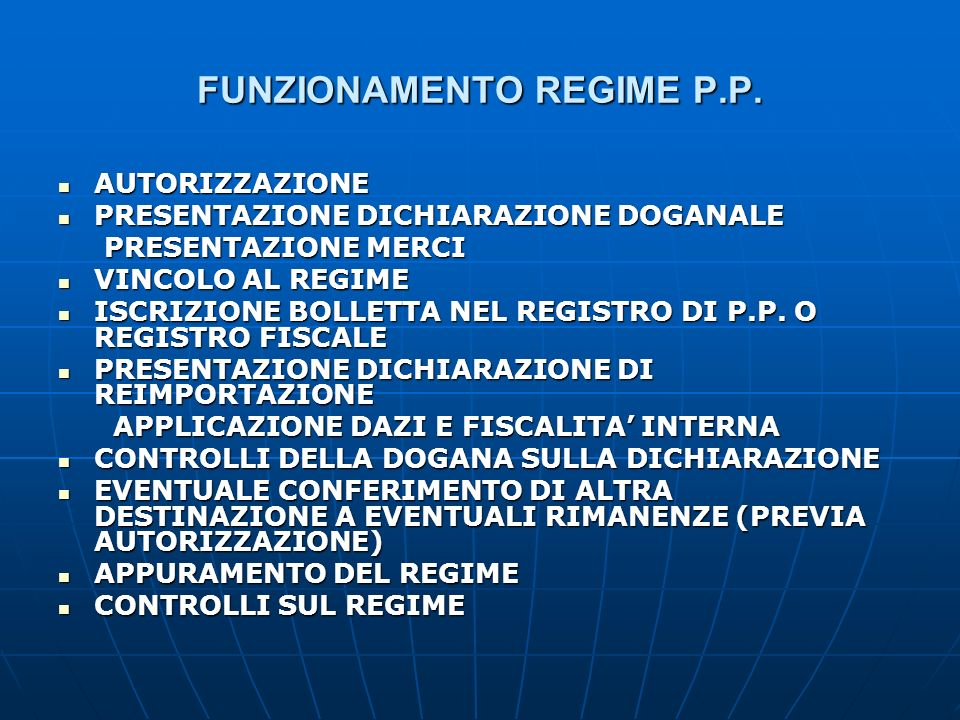 FUNZIONAMENTO REGIME P.P.