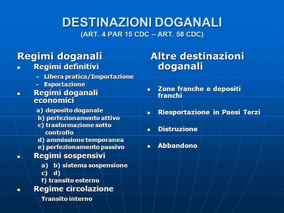 DESTINAZIONI DOGANALI (ART. 4 PAR 15 CDC – ART. 58 CDC)