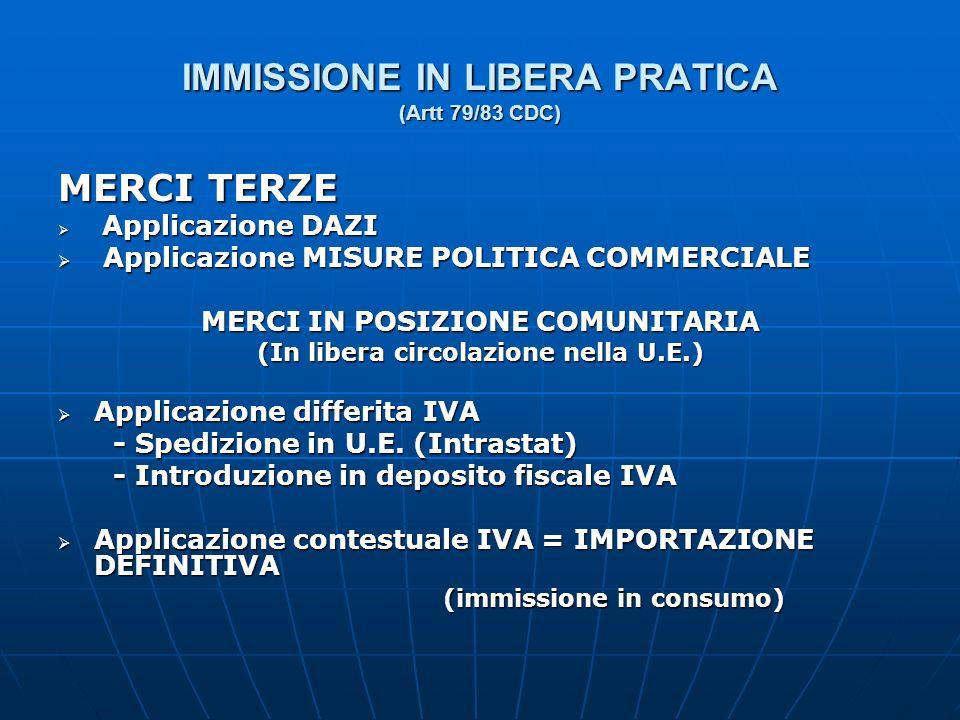 IMMISSIONE IN LIBERA PRATICA (Artt 79/83 CDC)