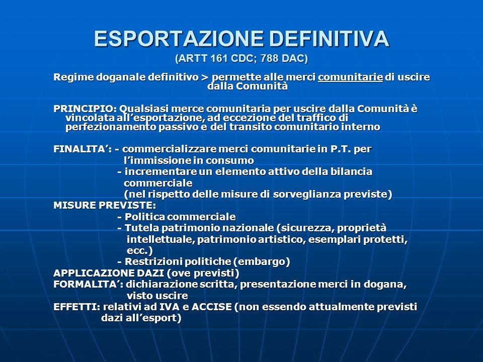 ESPORTAZIONE DEFINITIVA (ARTT 161 CDC; 788 DAC)
