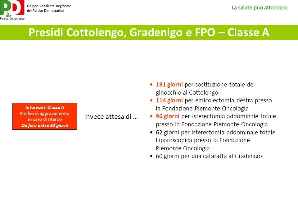 Presidi Cottolengo, Gradenigo e FPO – Classe A