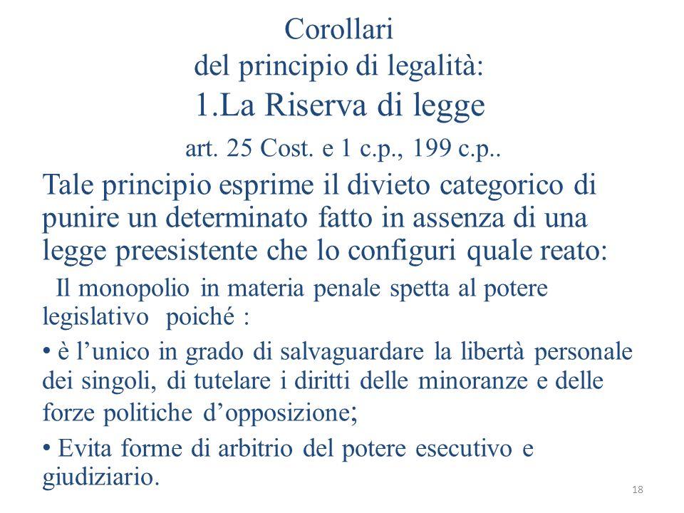 Corollari del principio di legalità: 1. La Riserva di legge art