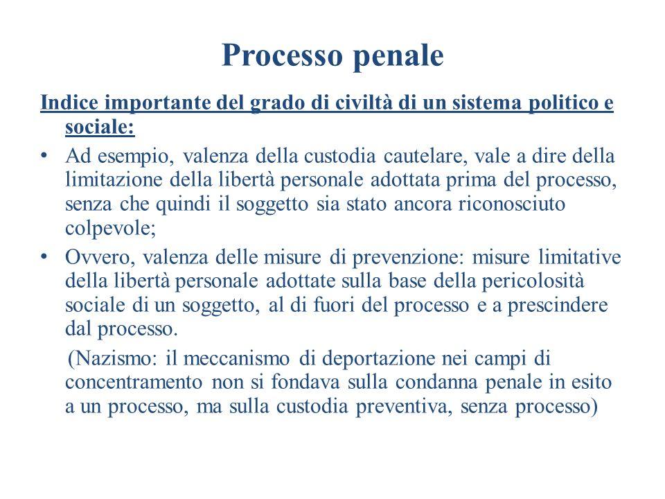Processo penale Indice importante del grado di civiltà di un sistema politico e sociale: