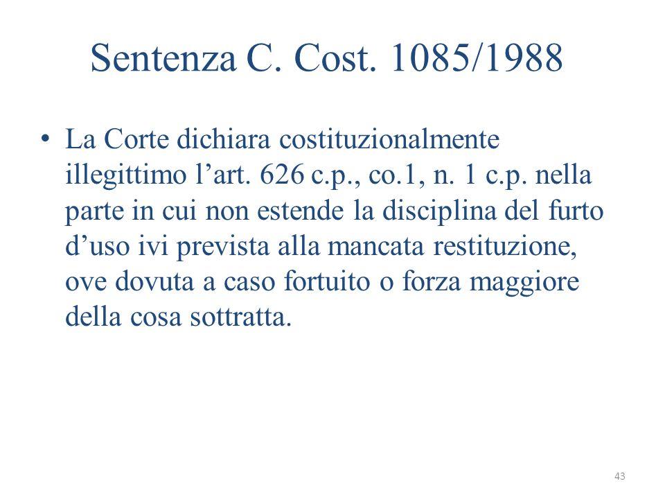 Sentenza C. Cost. 1085/1988