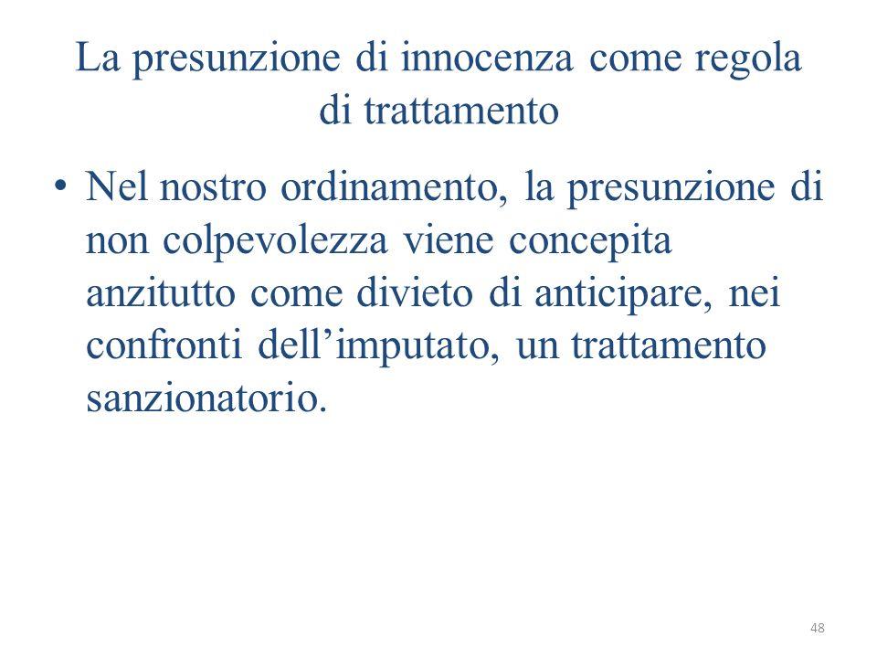La presunzione di innocenza come regola di trattamento