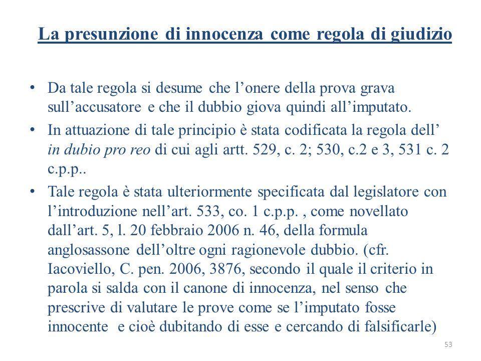 La presunzione di innocenza come regola di giudizio