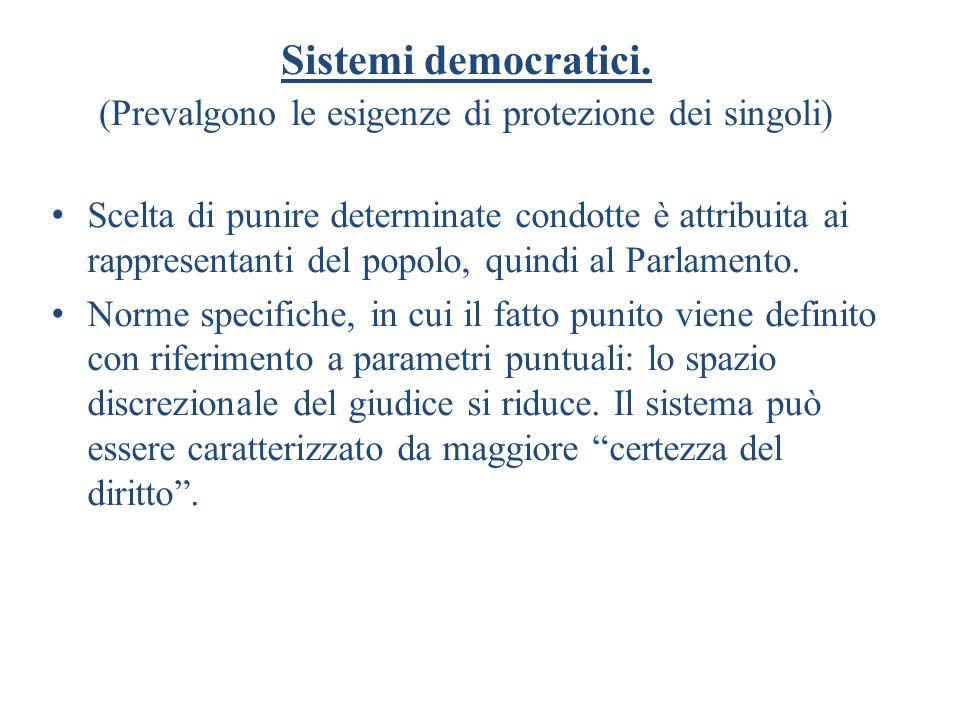Sistemi democratici. (Prevalgono le esigenze di protezione dei singoli)