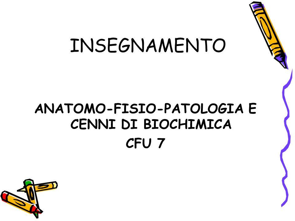 ANATOMO-FISIO-PATOLOGIA E CENNI DI BIOCHIMICA