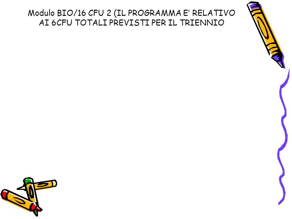 Modulo BIO/16 CFU 2 (IL PROGRAMMA E' RELATIVO AI 6CFU TOTALI PREVISTI PER IL TRIENNIO