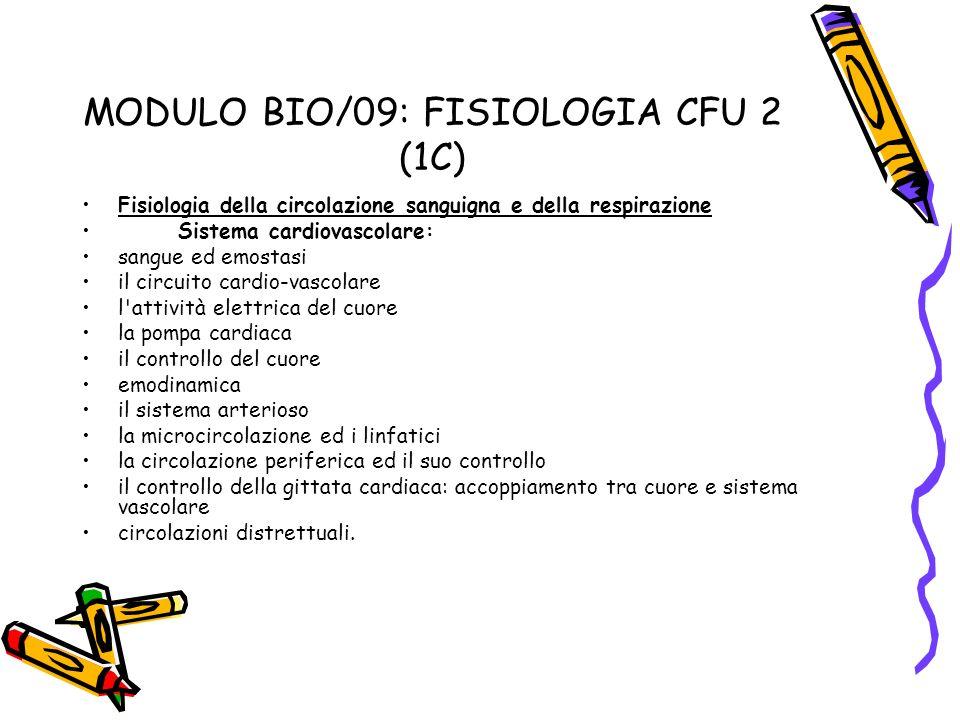MODULO BIO/09: FISIOLOGIA CFU 2 (1C)