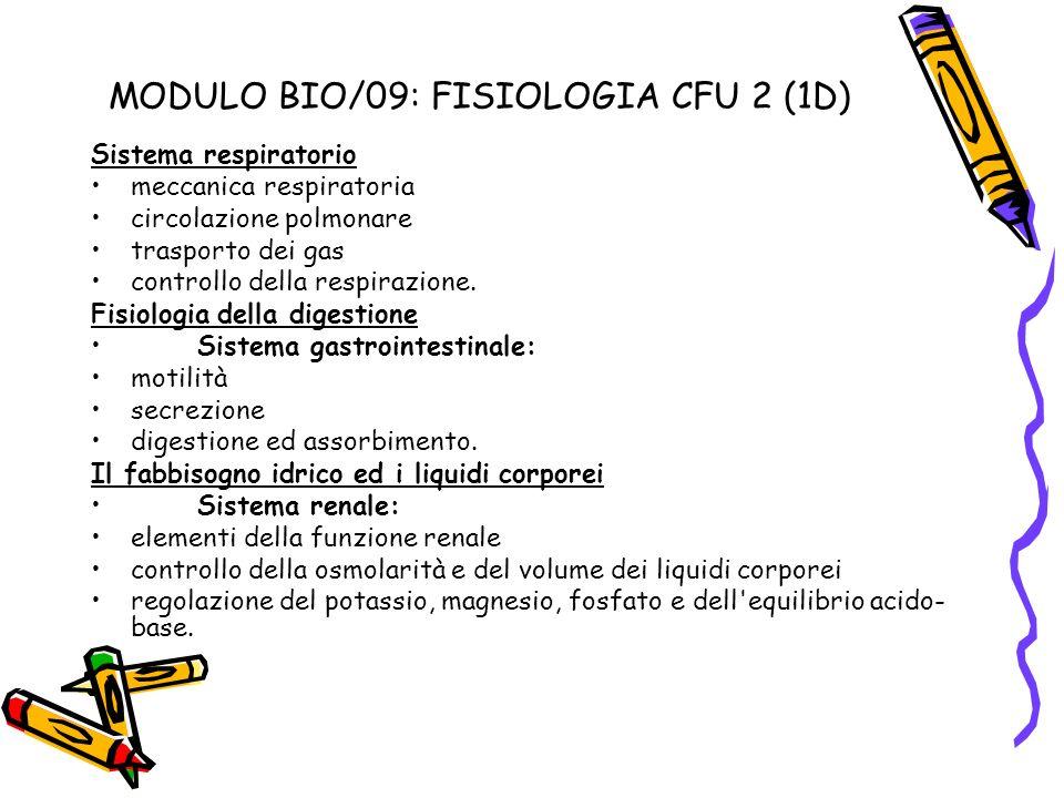 MODULO BIO/09: FISIOLOGIA CFU 2 (1D)
