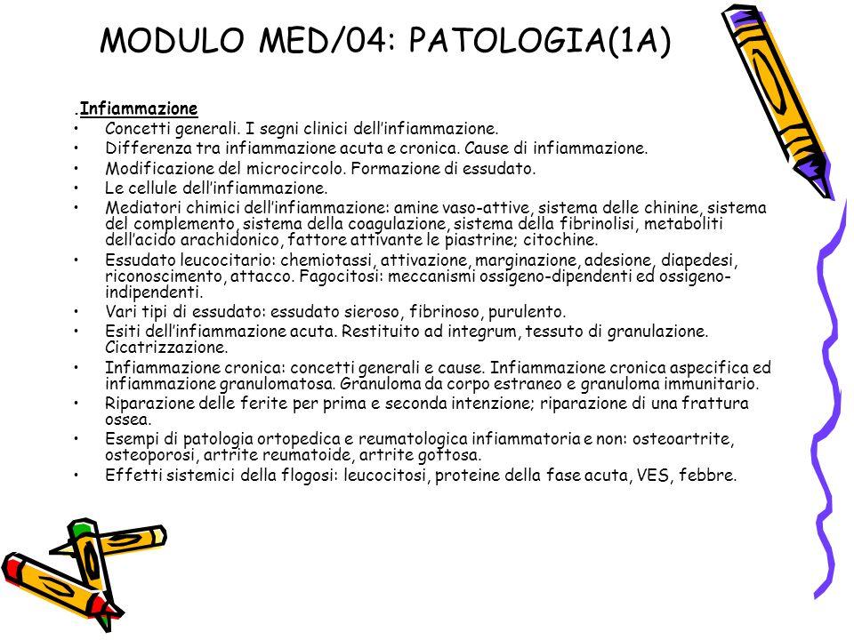 MODULO MED/04: PATOLOGIA(1A)