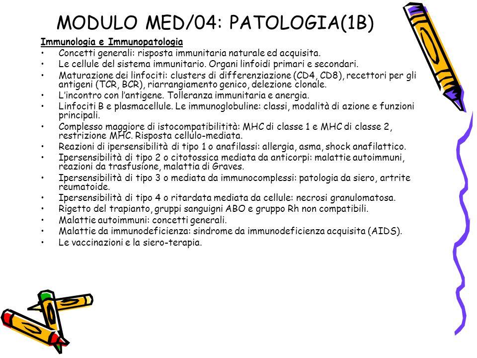 MODULO MED/04: PATOLOGIA(1B)