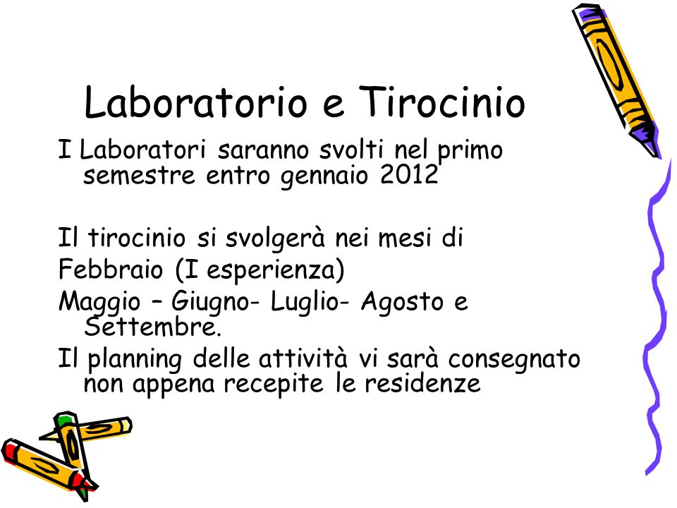 Laboratorio e Tirocinio