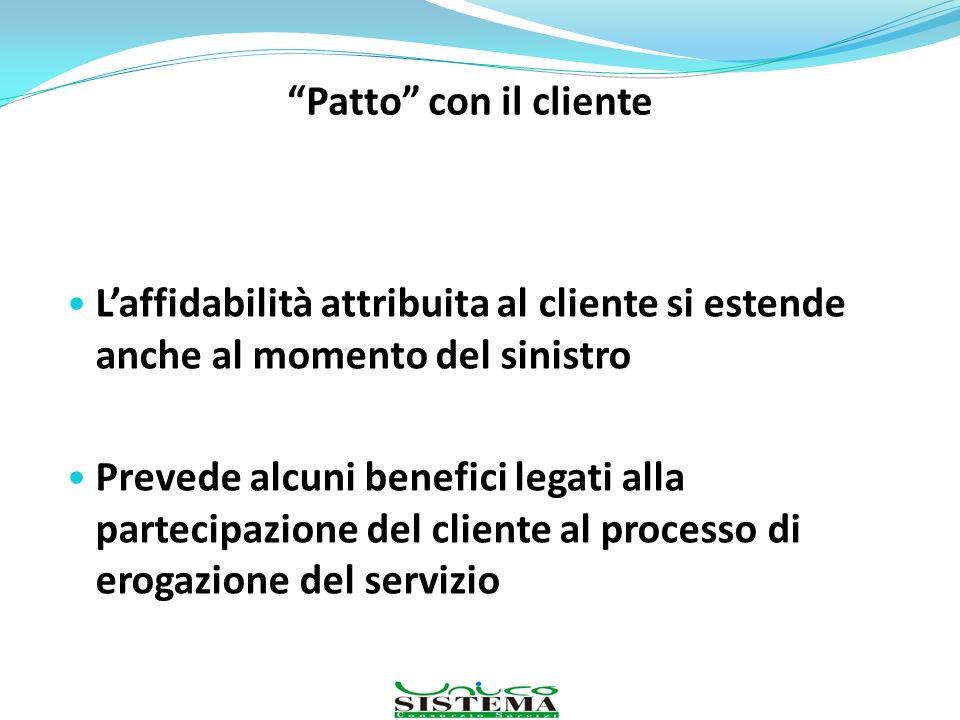 Patto con il cliente L'affidabilità attribuita al cliente si estende anche al momento del sinistro.