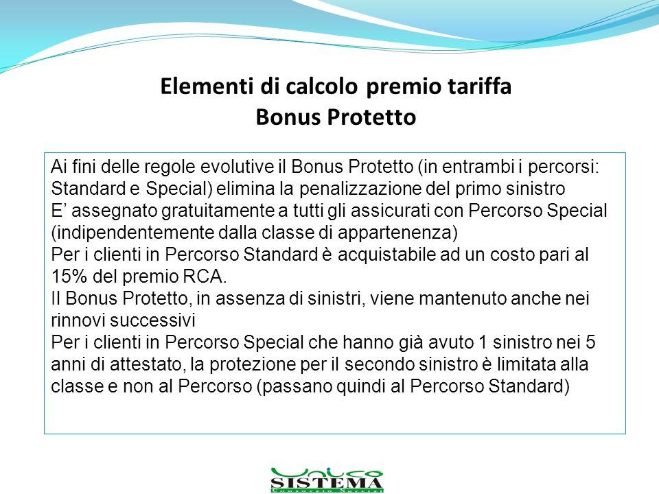 Elementi di calcolo premio tariffa Bonus Protetto