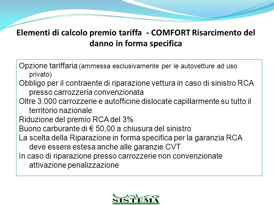Elementi di calcolo premio tariffa - COMFORT Risarcimento del danno in forma specifica