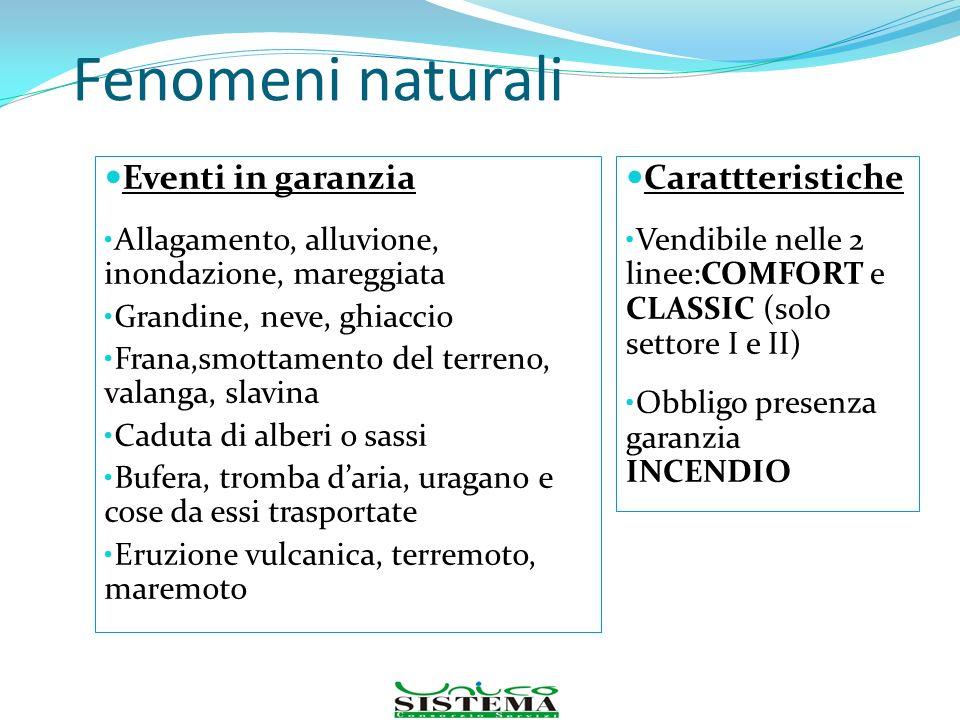 Fenomeni naturali Eventi in garanzia Carattteristiche